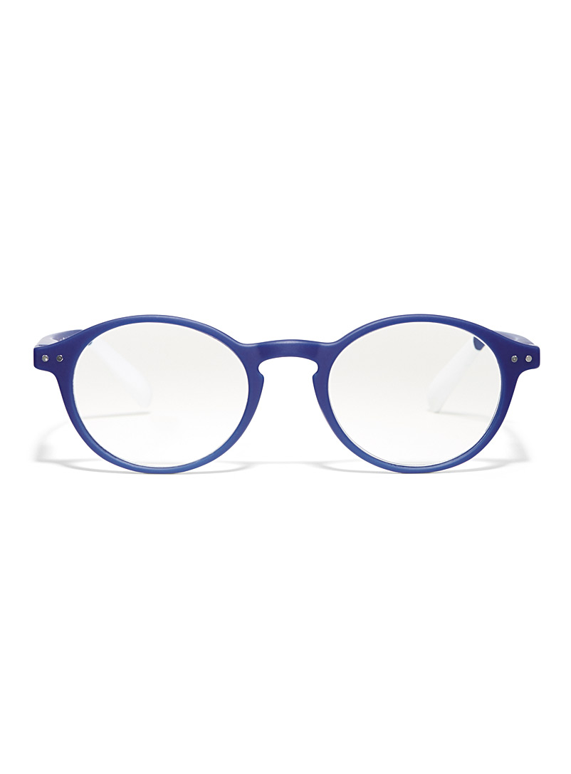 AFTERNOON x PANTONE Sapphire Blue Matte round reading glasses for women