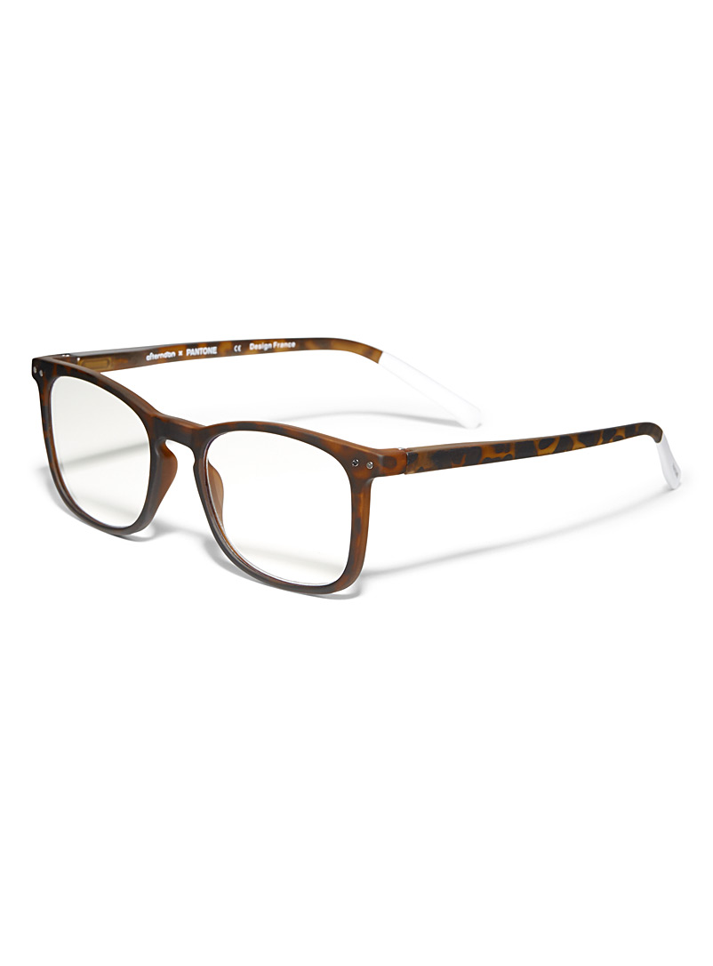 Matte square reading glasses - Reading Glasses - Brown
