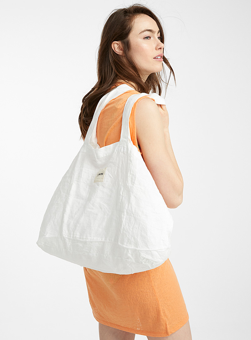 St. Agni White Large linen tote for women