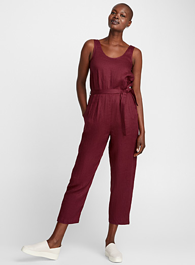 Burgundy linen loose jumpsuit