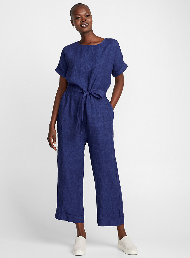 Chambray linen belted jumpsuit - Jumpsuits & Rompers - Sapphire Blue