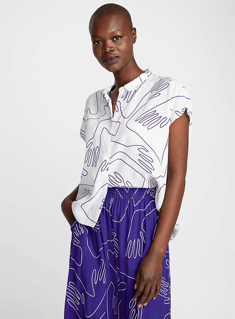 Sentosa abstract hand blouse - Blouses - Patterned White