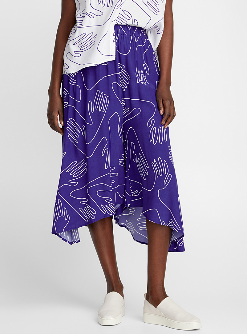 Sentosa abstract hand culottes - Midi - Sapphire Blue