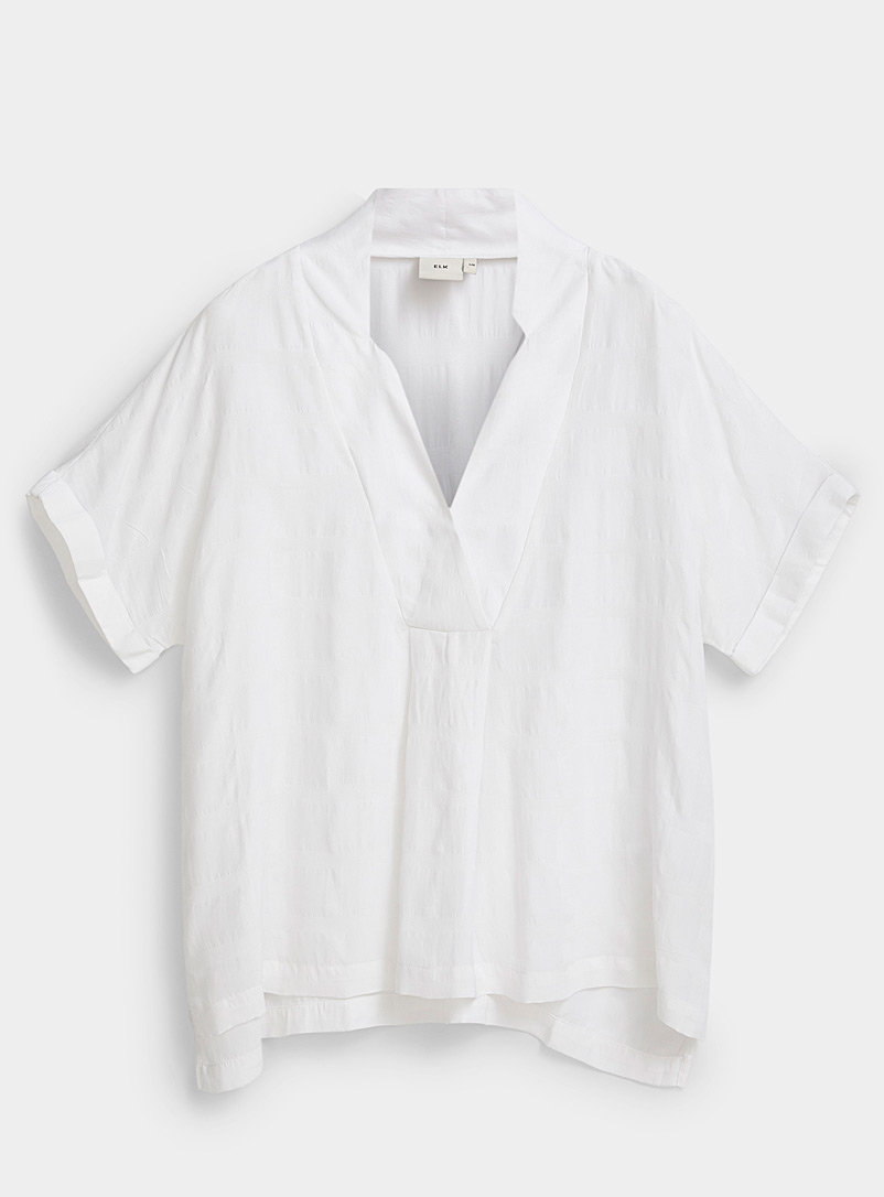 ELK White Flekke loose V-neck blouse for women