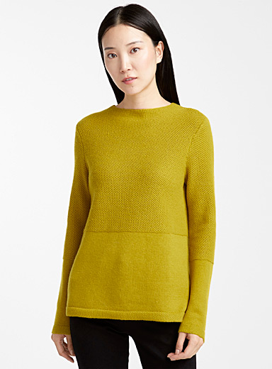 Le pull texture mixte mérinos ocre