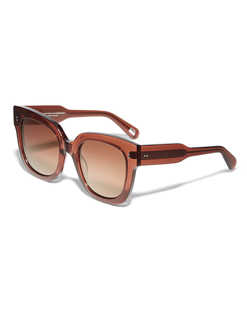 XXL translucent square sunglasses - Designer - Brown