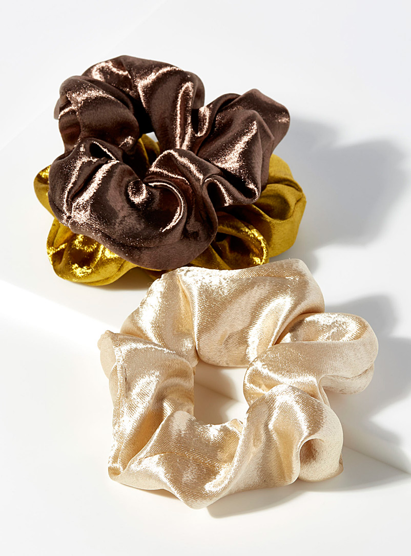 Simons Brown Shiny satin scrunchies  Set of 3 for women