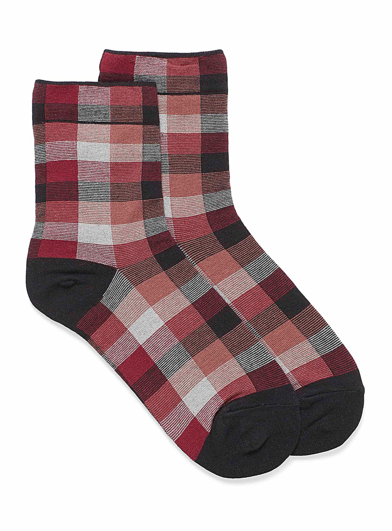 Simons Black Jacquard check ankle socks for women