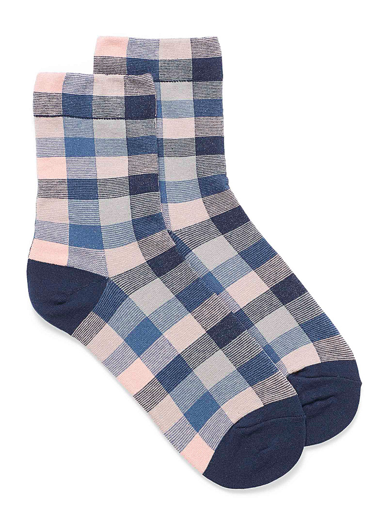 Simons Marine Blue Jacquard check ankle socks for women