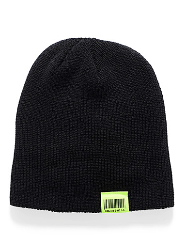 Simons Black Neon accent cuffed tuque for women