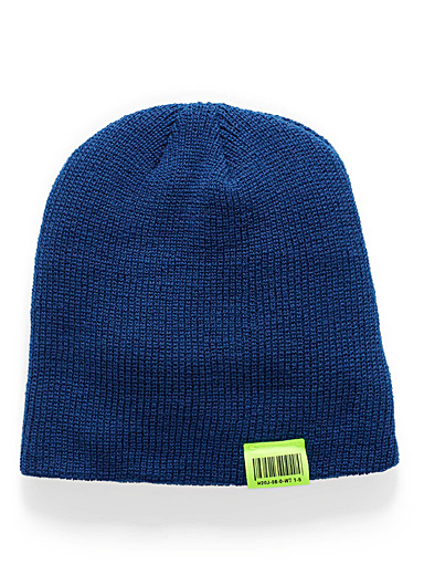 Neon accent cuffed tuque