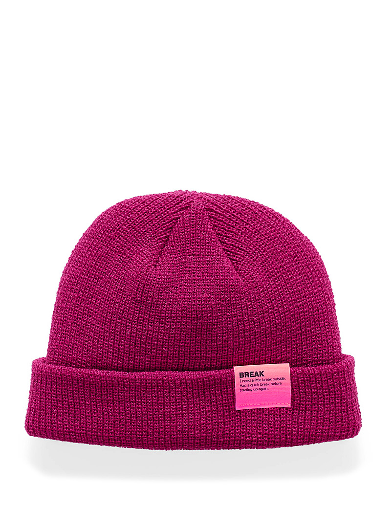 Neon accent cuffed tuque - Tuques & Berets - Magenta
