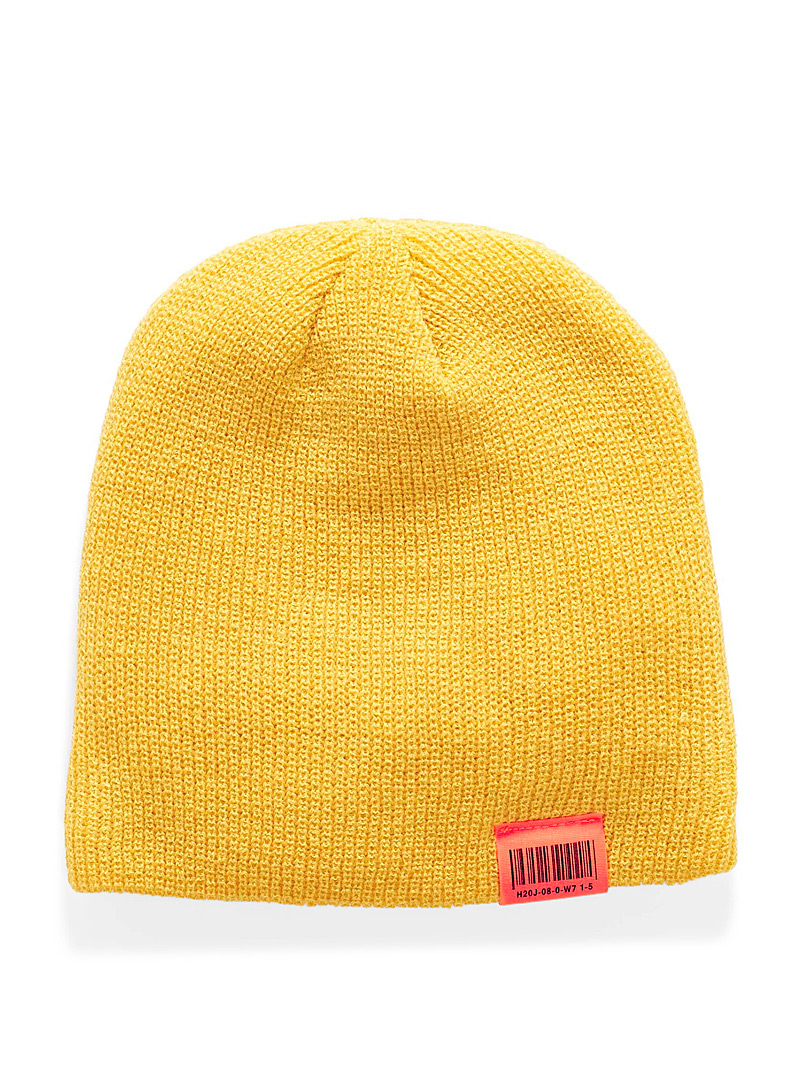 Simons Yellow Neon accent cuffed tuque for women