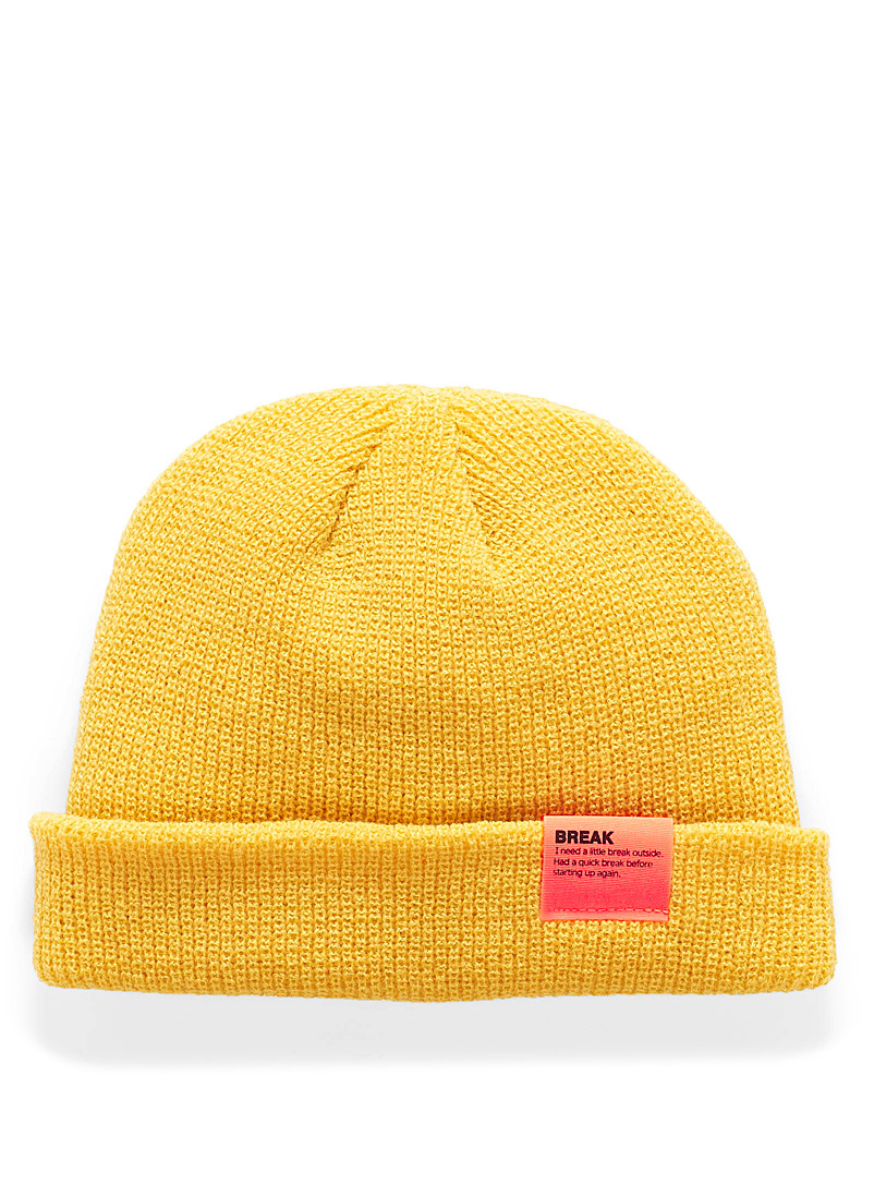 Neon accent cuffed tuque - Tuques & Berets - Yellow