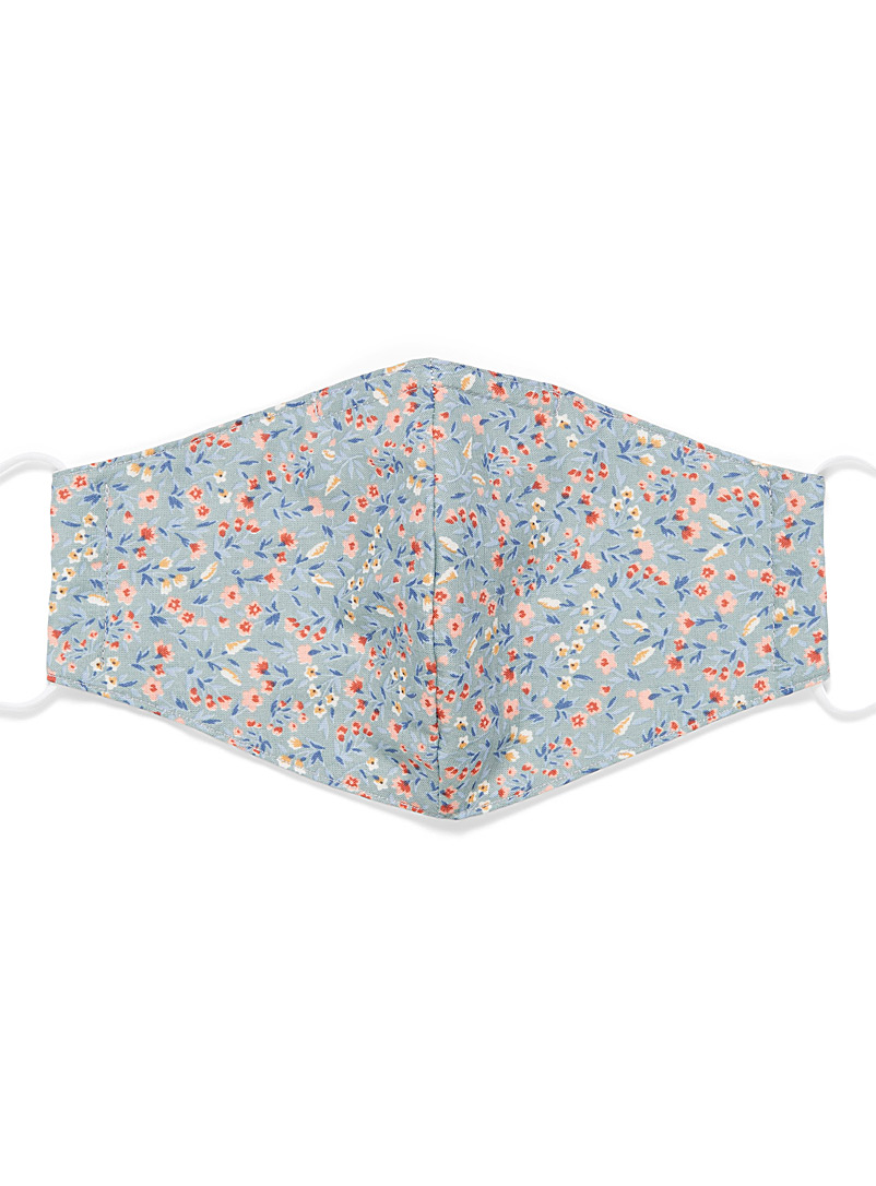 Simons Baby Blue Floral-print fabric face mask for women