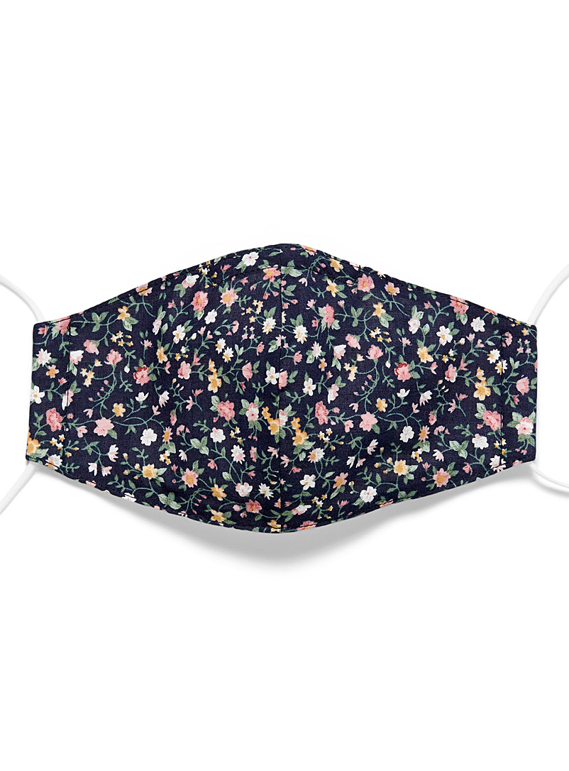 Floral-print fabric face mask