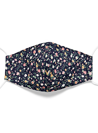 Floral print fabric face mask