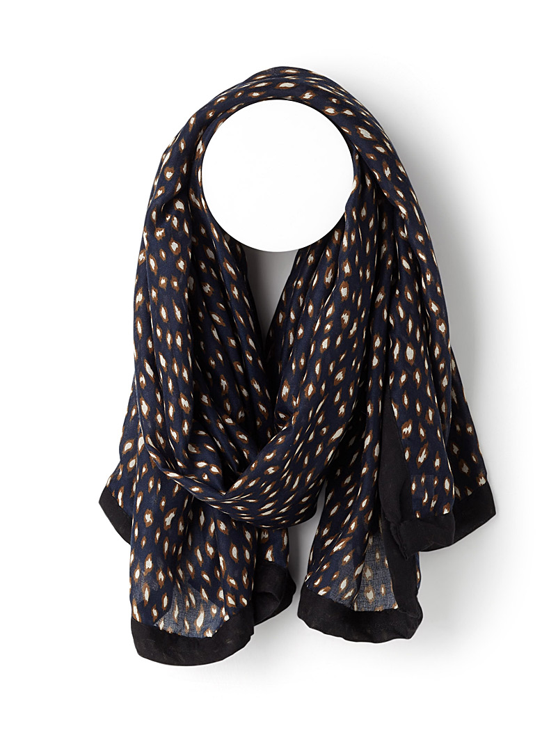 Artistic leopard pattern scarf - Light scarves - Marine Blue