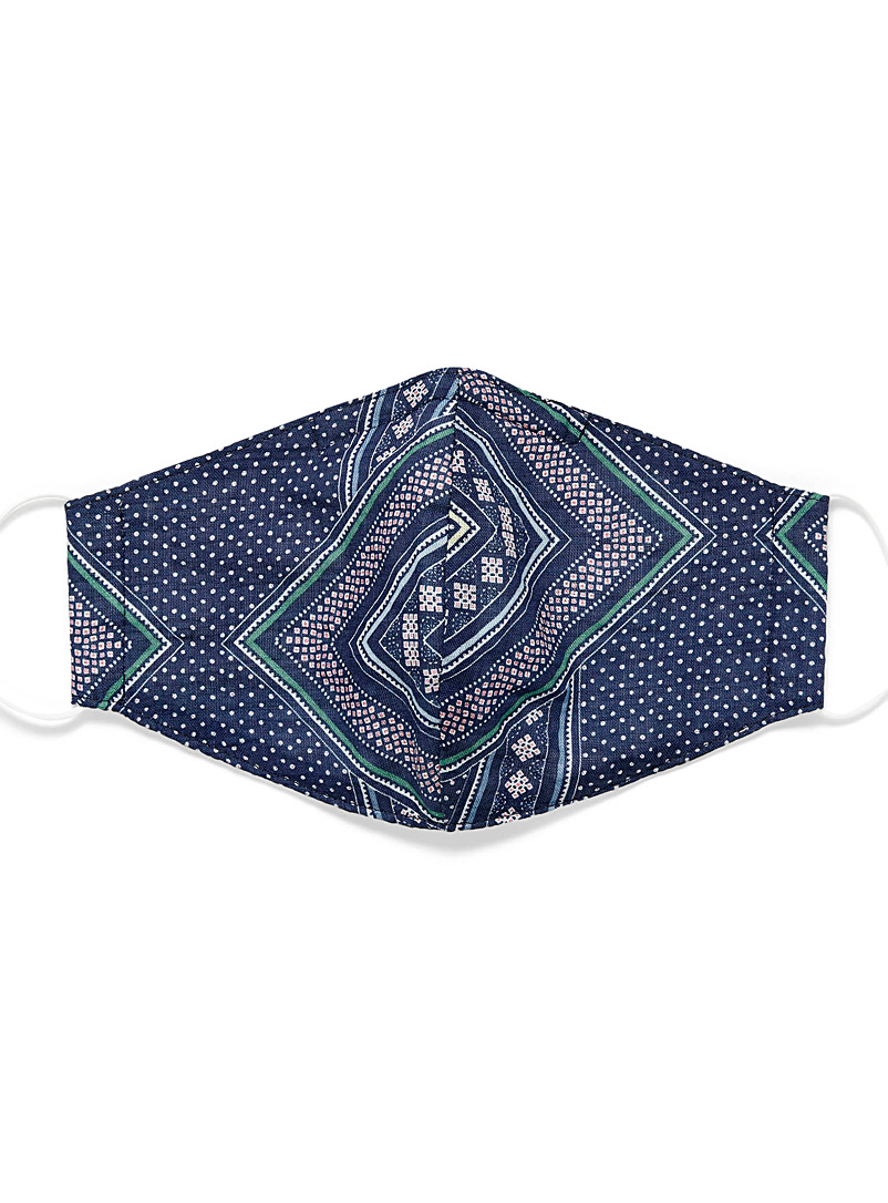 Simons Patterned Blue Geo scarf fabric mask for women