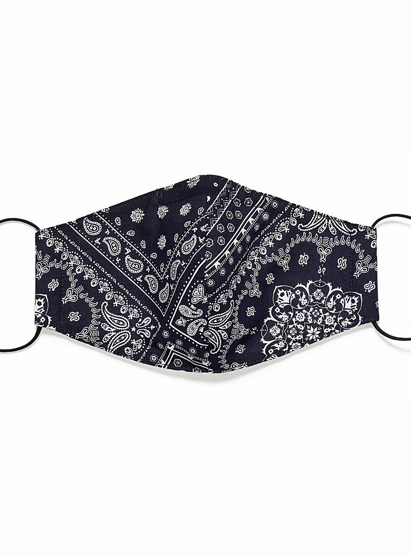 Le 31 Patterned Blue Paisley mask for men