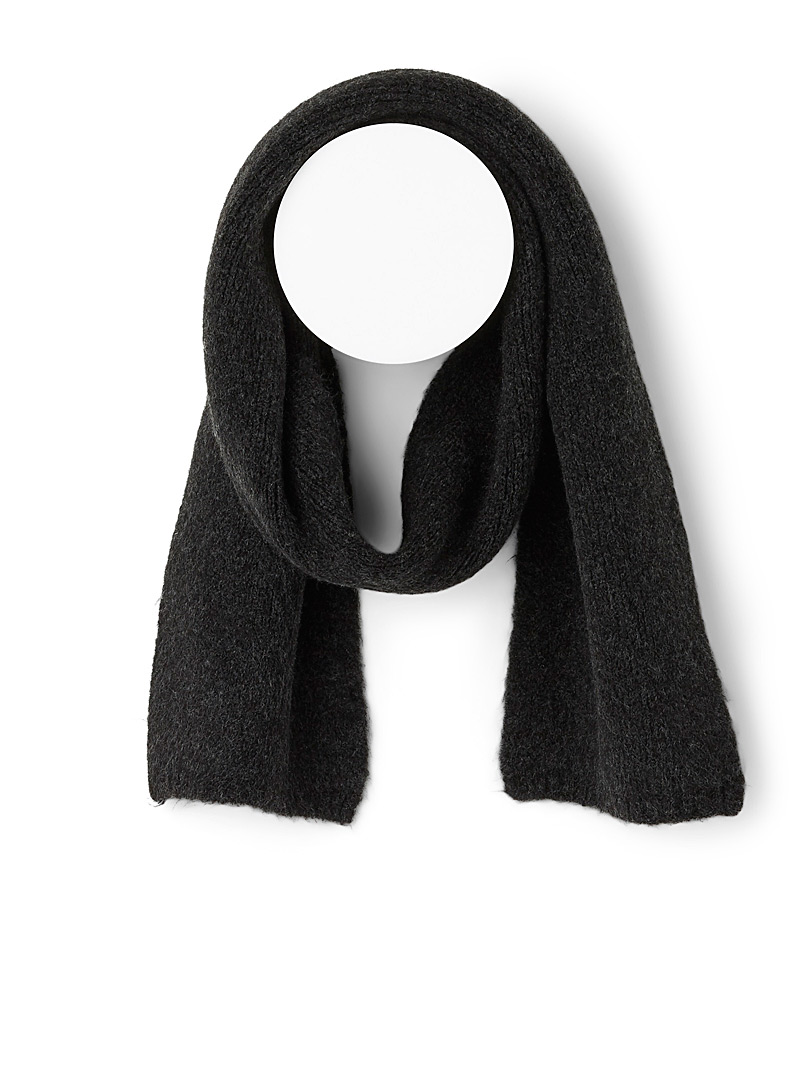 Brushed-like wool scarf - Winter Scarves - Dark Grey