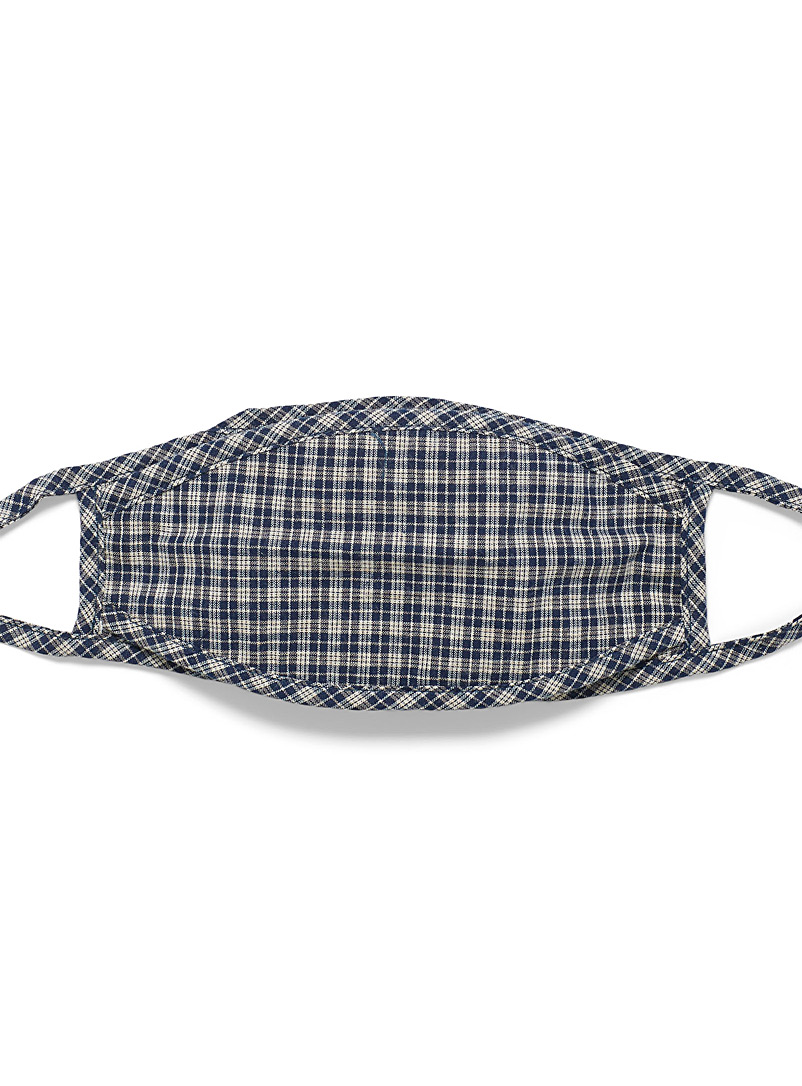 Le 31 Marine Blue Check fabric mask for men