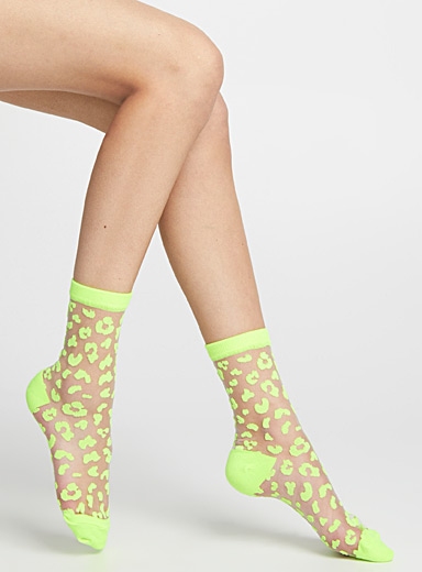 Leopard and mesh ankle socks