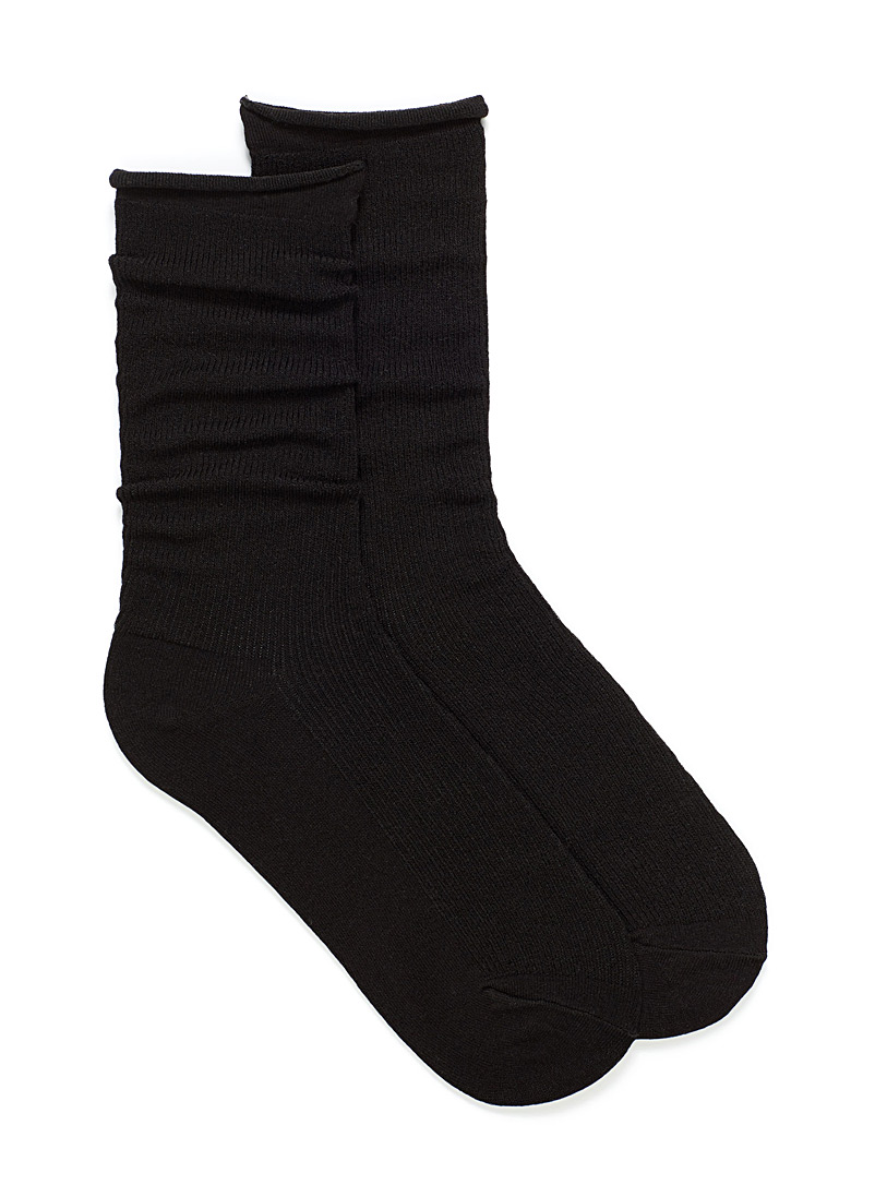 Monochrome ribbed socks - Socks - Black