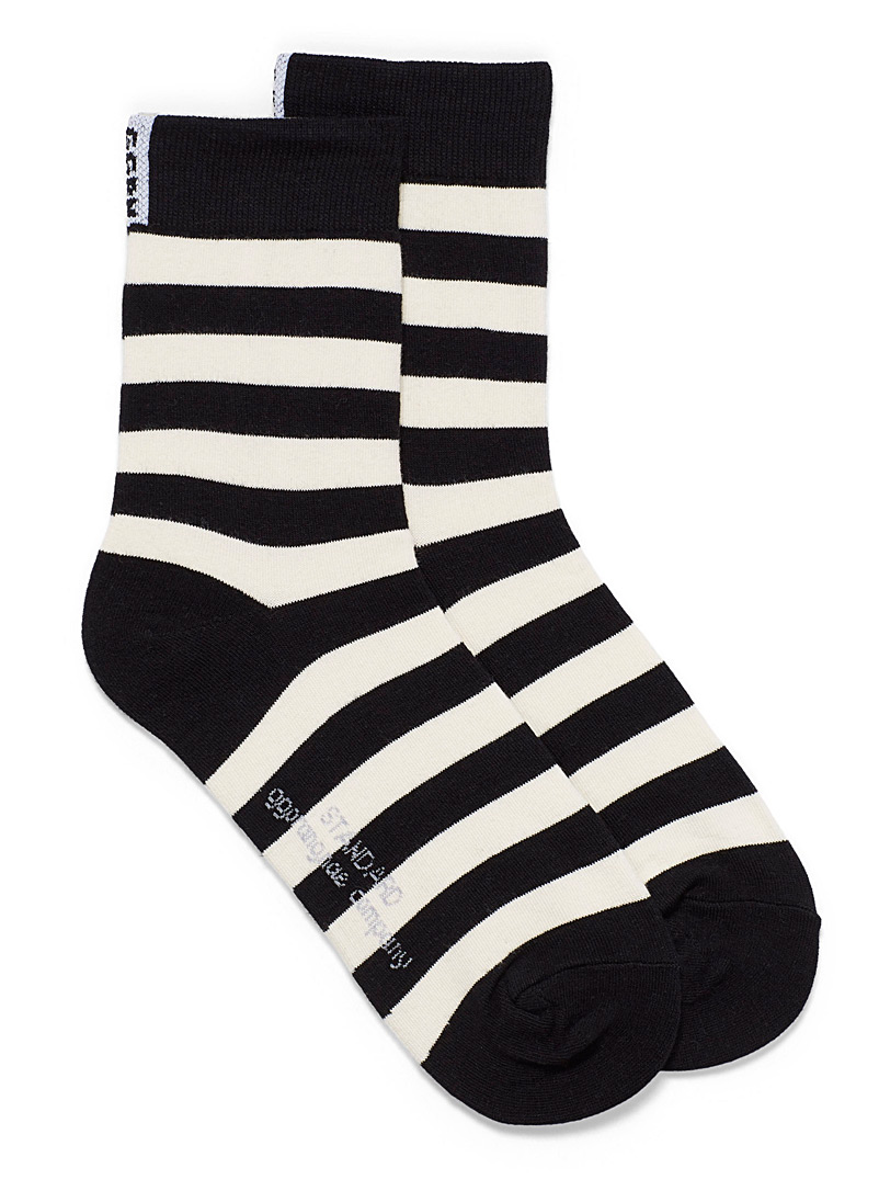 Simons Black Twin-stripe ankle socks for women