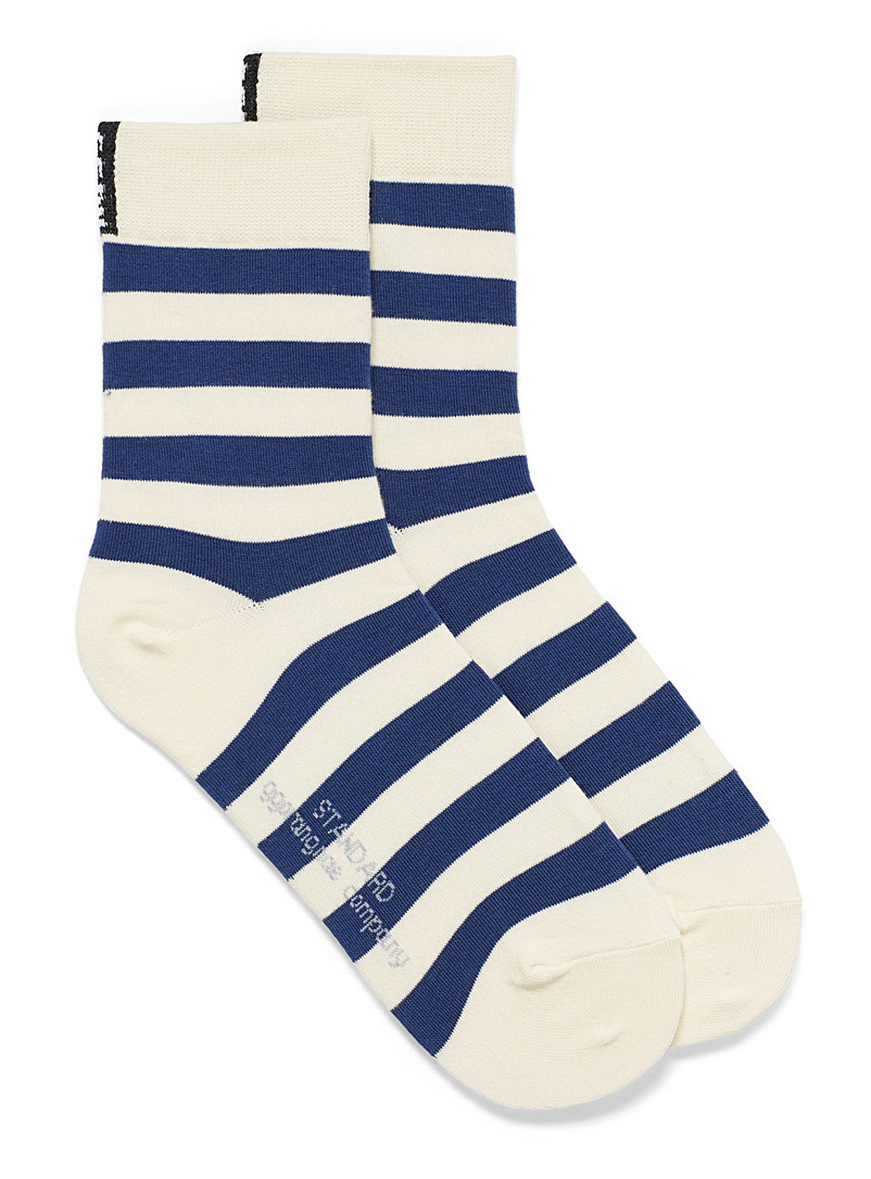 Simons Marine Blue Twin-stripe socks for women