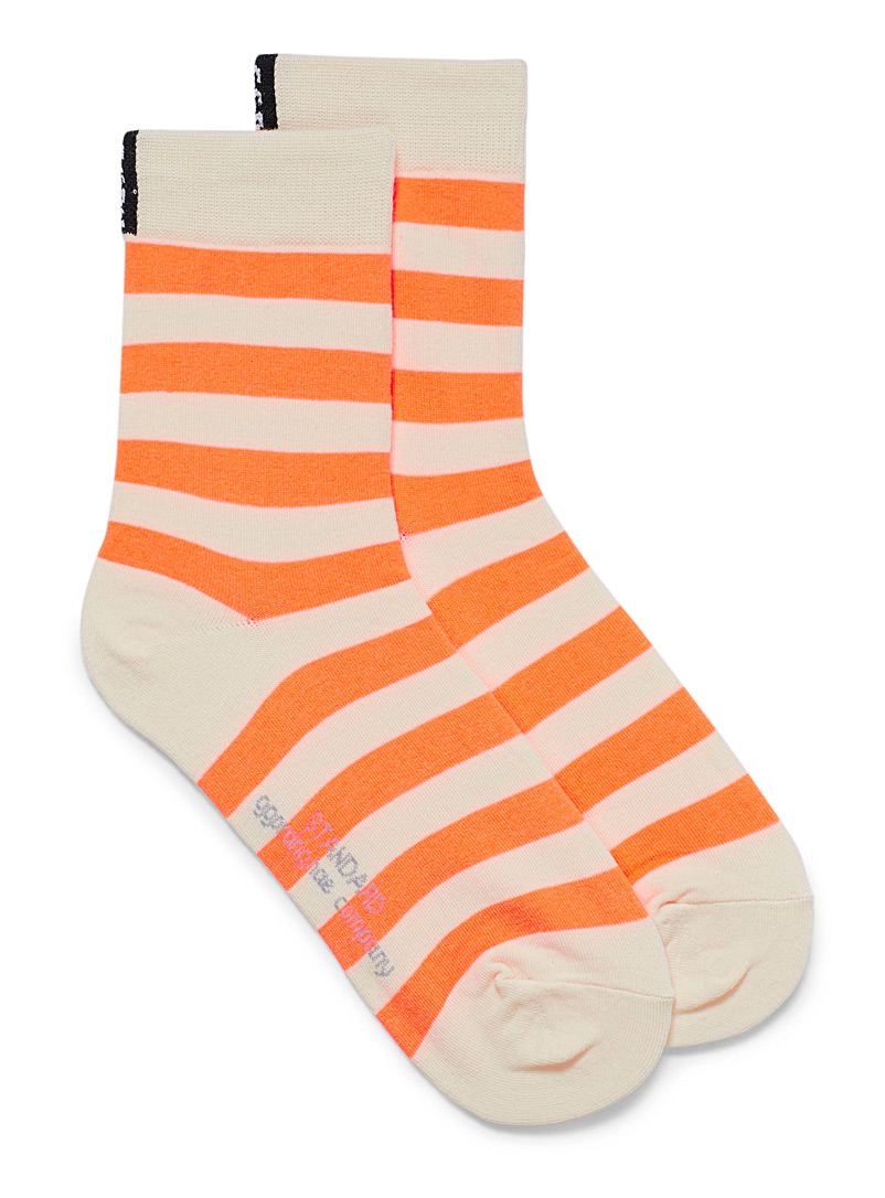 Simons Orange Twin-stripe ankle socks for women