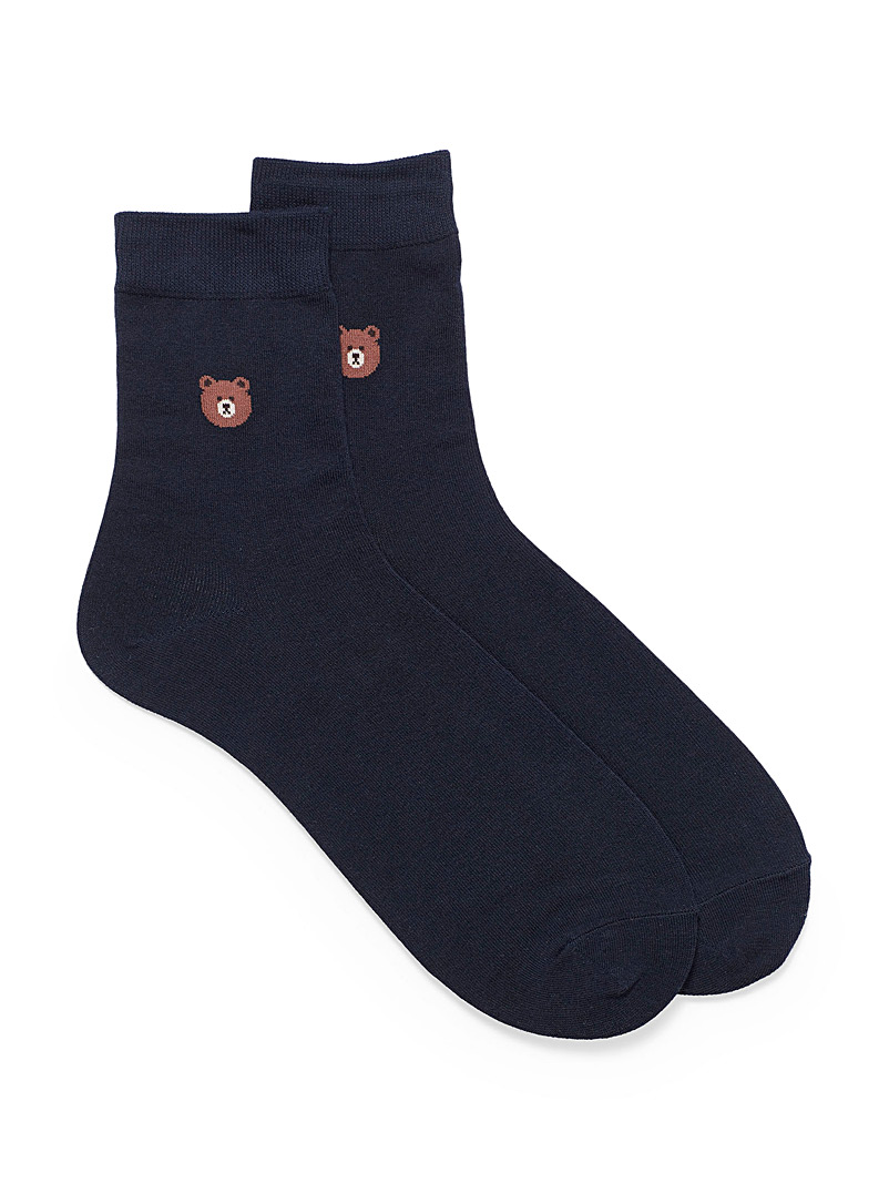 Teddy bear dress socks - Casual socks - Marine Blue