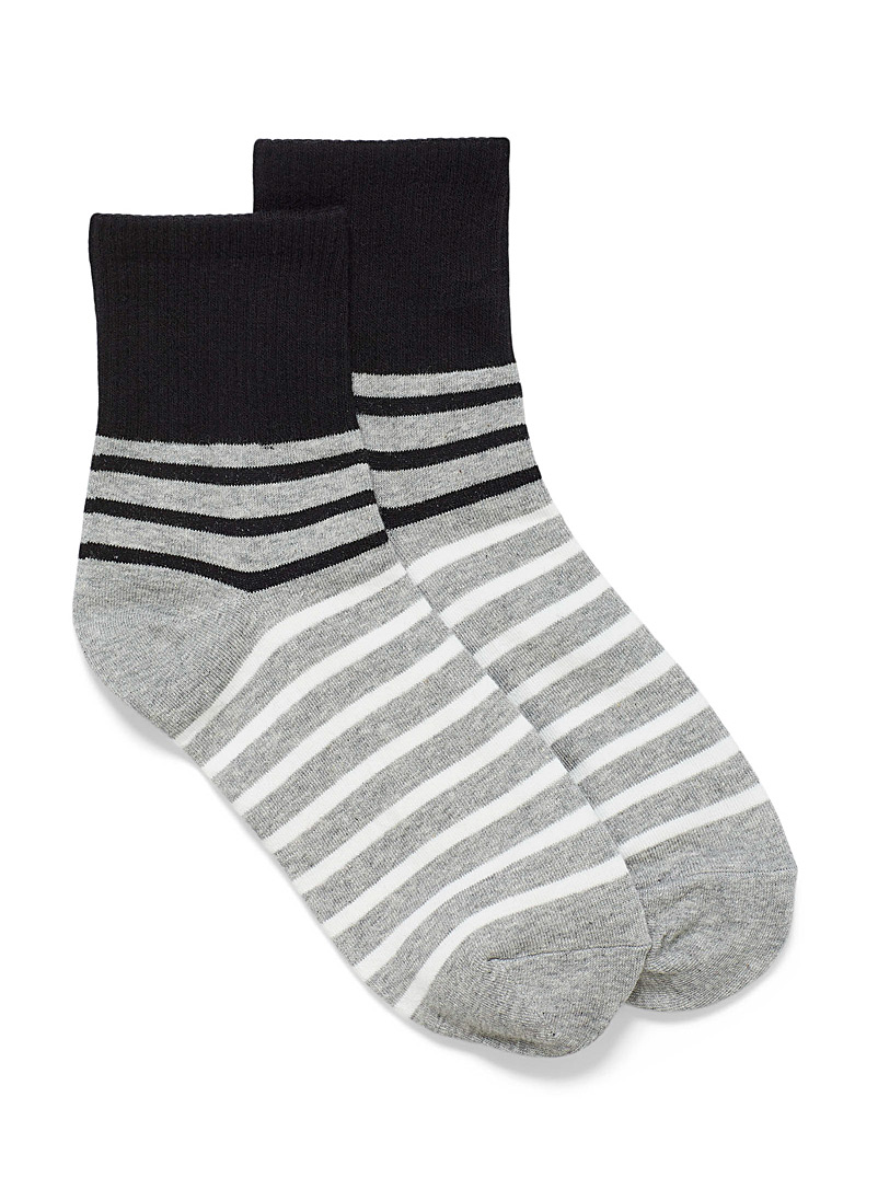 Simons Grey Striped tricolour socks for women