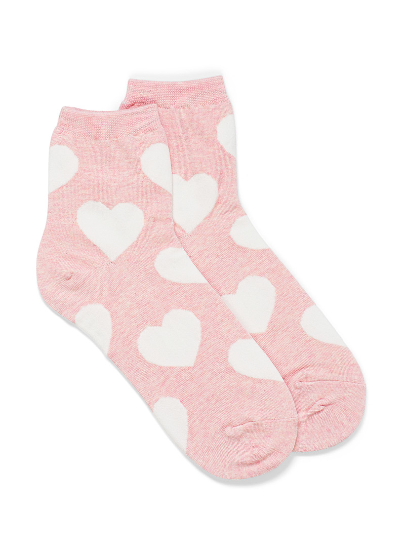 Simons Dusky Pink Puffed heart socks for women