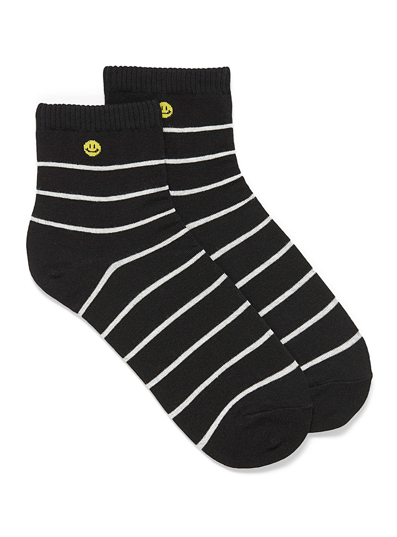 Simons Black and White Striped smiley ankle socks for women