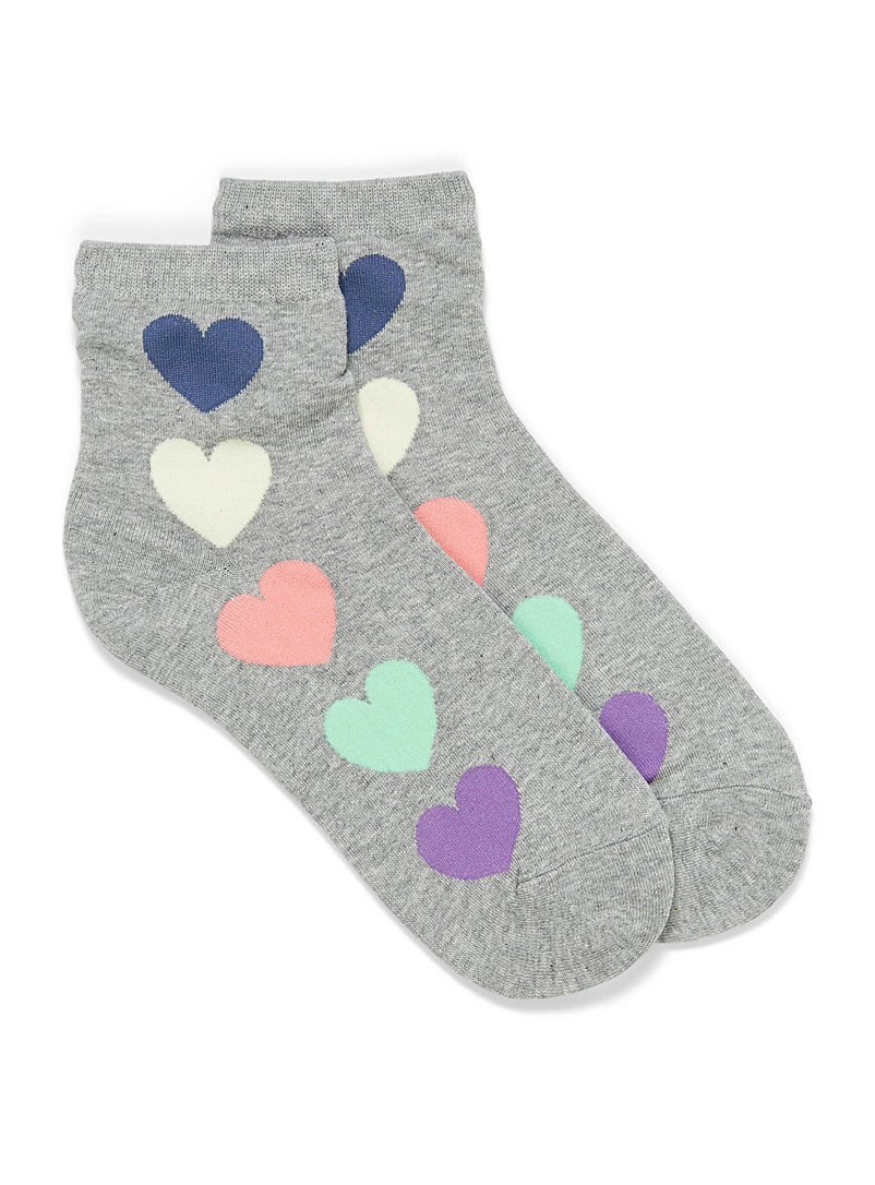 Simons Grey Colourful heart ankle socks for women