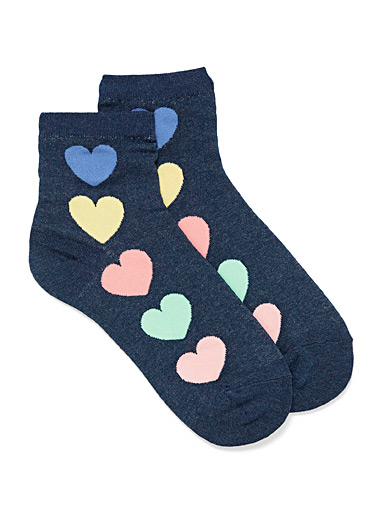 Colourful heart ankle socks