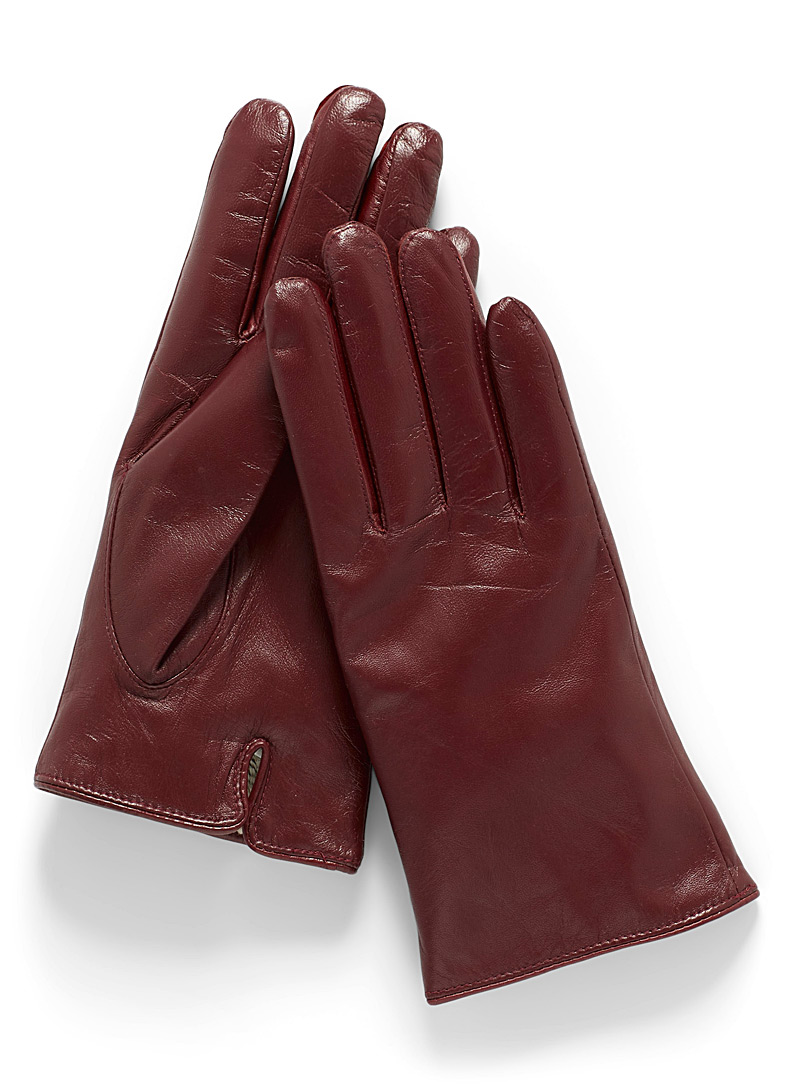 Simons Dark Brown Leather touch screen gloves for women