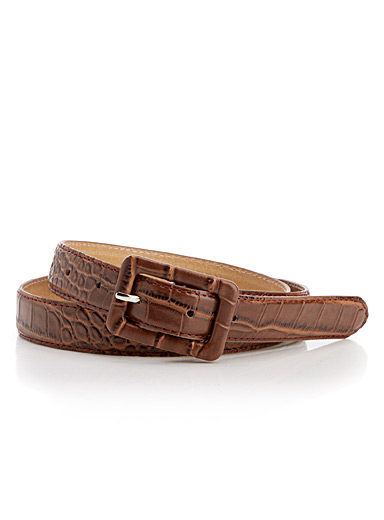 Croc faux leather belt