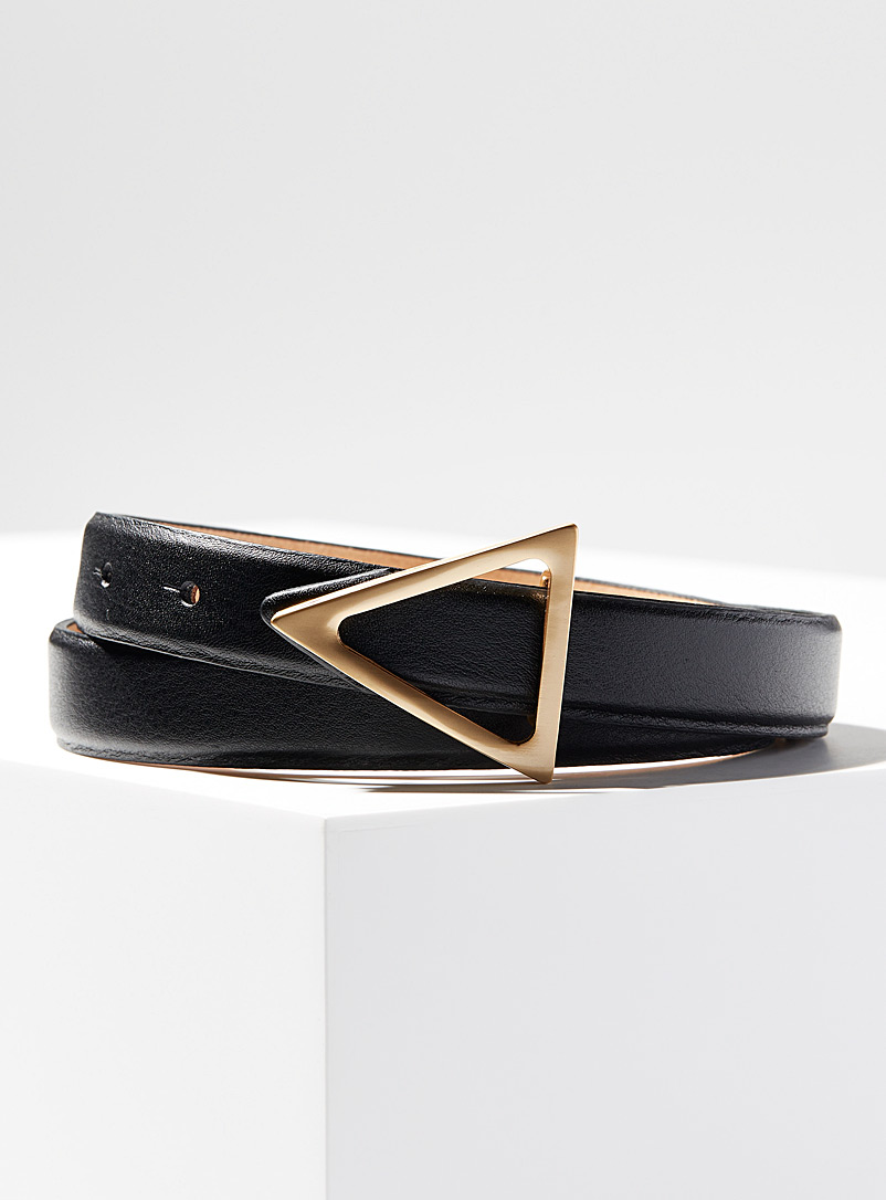 Simons Black Golden triangle buckle belt for women