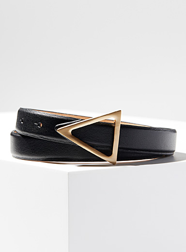 Golden triangle buckle belt