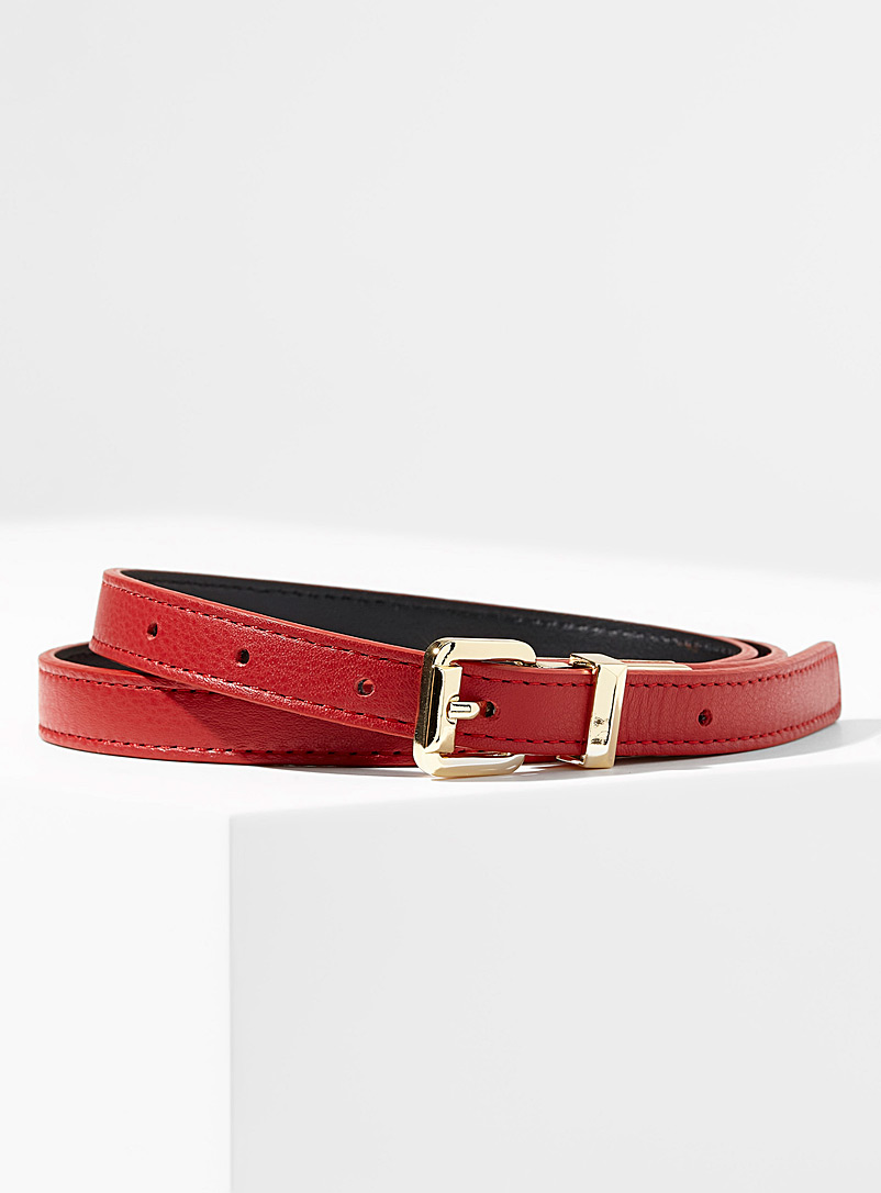 Simons Red Mirror-buckle leather belt for women
