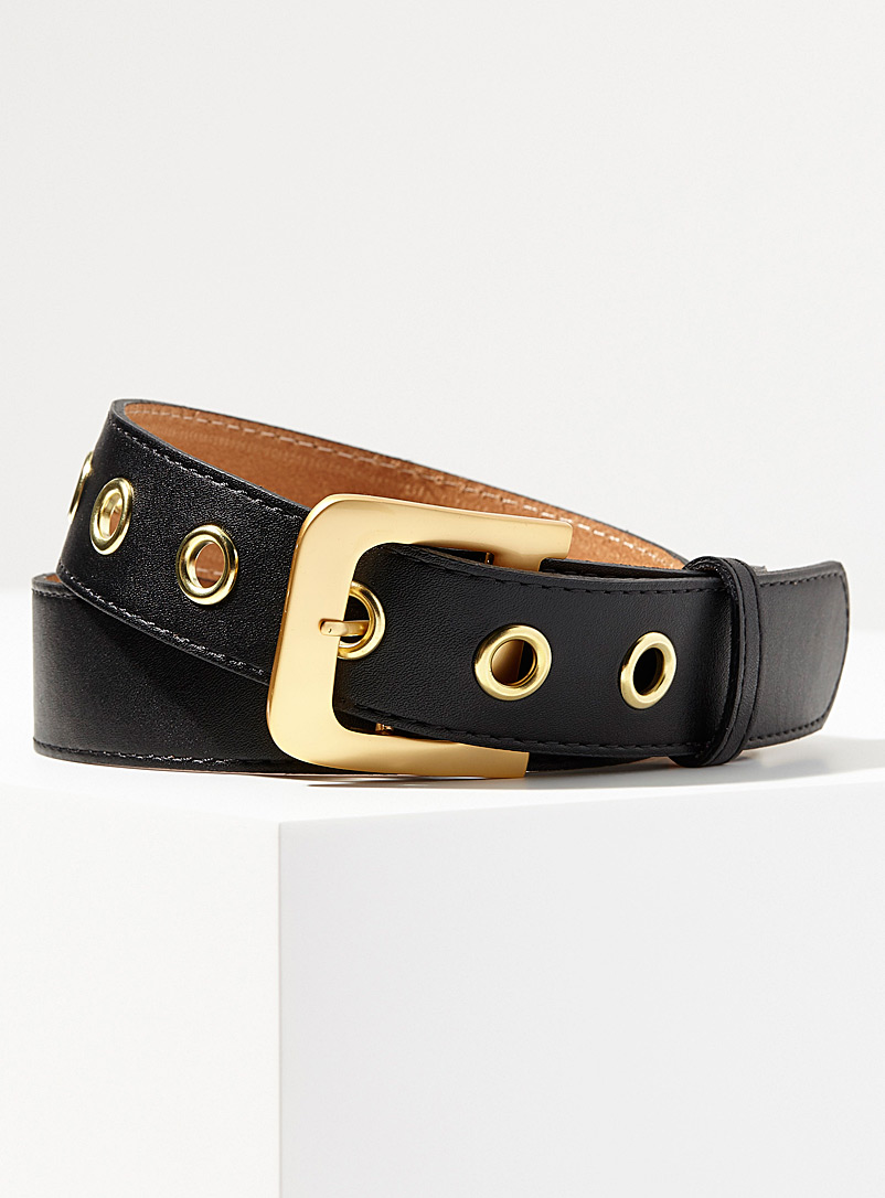 Simons Black Lacquered-buckle leather belt for women