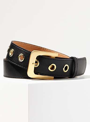 Lacquered-buckle leather belt
