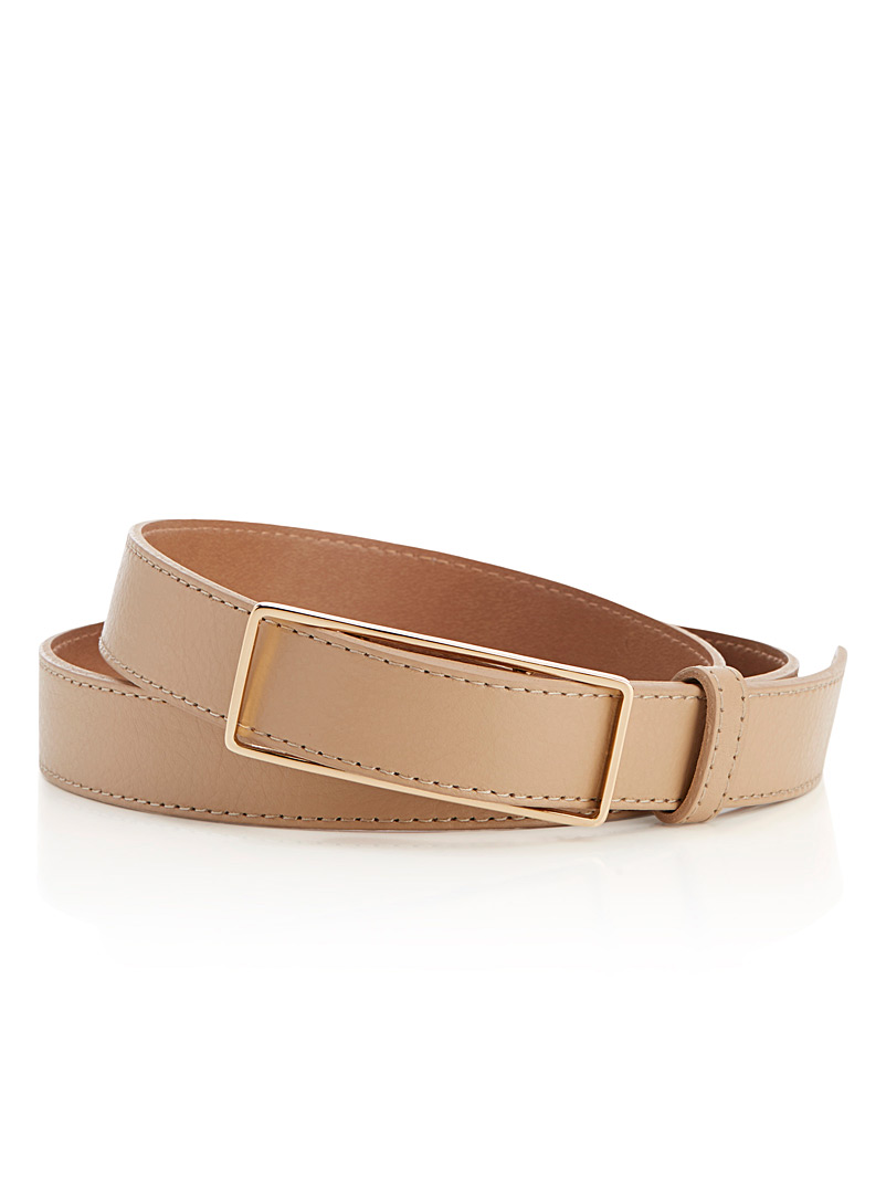Modern rectangular buckle belt - Belts - Cream Beige