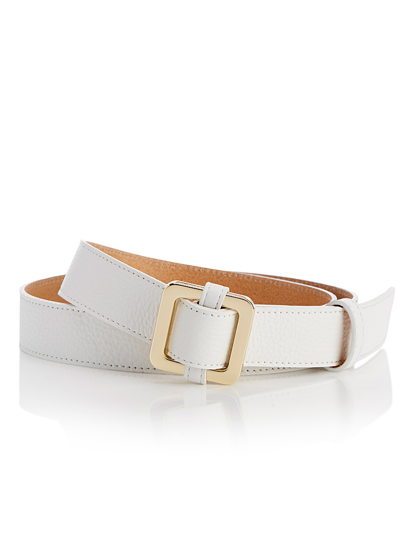 Square buckle faux-leather belt - Belts - White