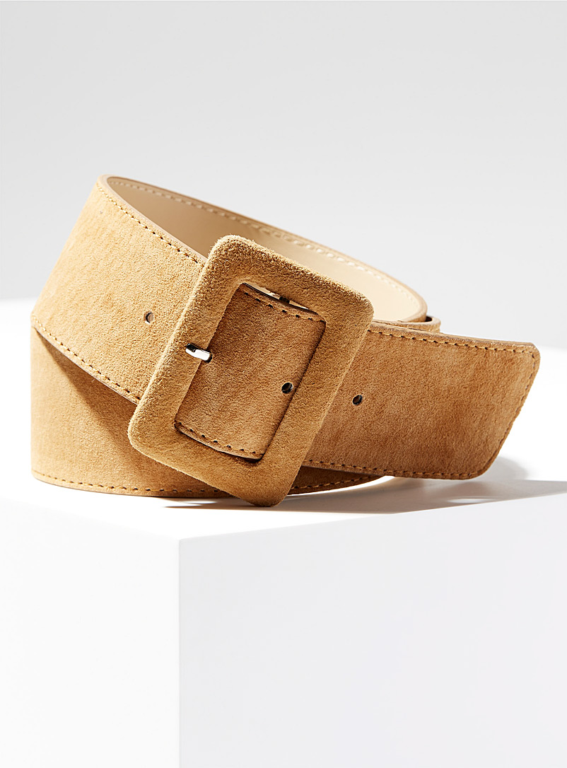 Simons Sand Covered XL buckle belt for women