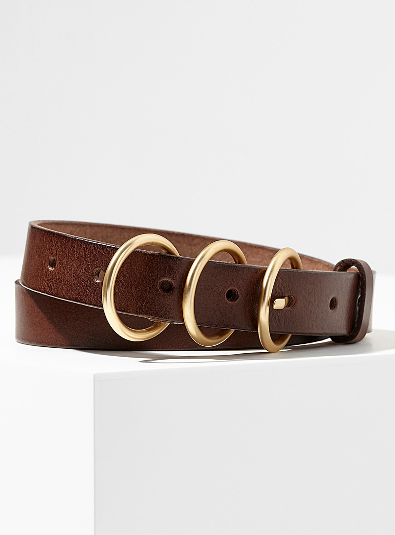 Simons Dark Brown Triple-buckle belt for women