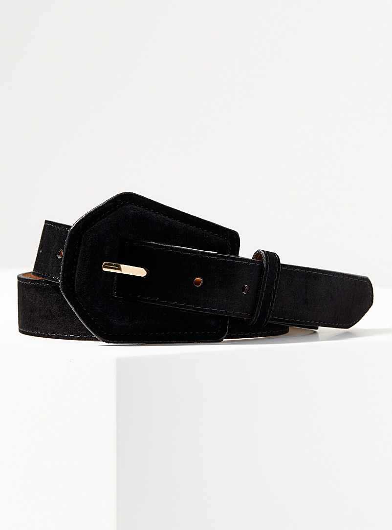Simons Black Suede belt for women
