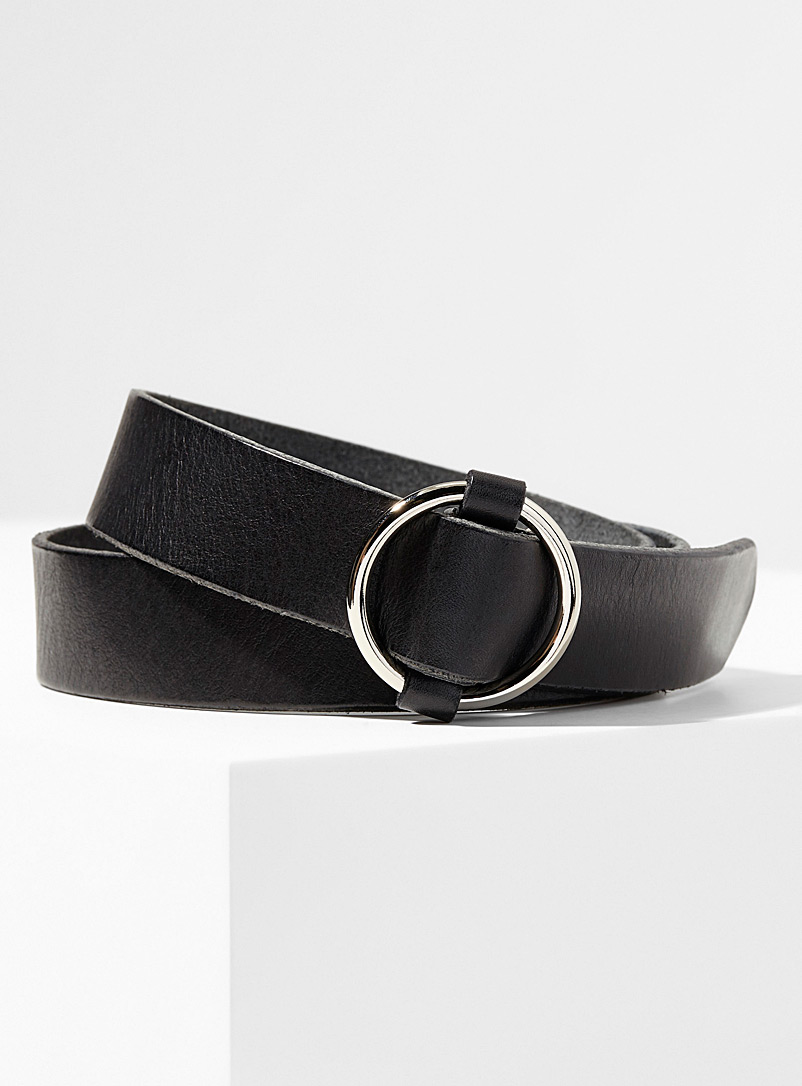 Simons Black Patina leather belt for women